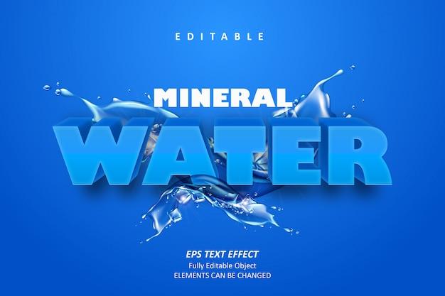 Efeito de texto editável de água mineral