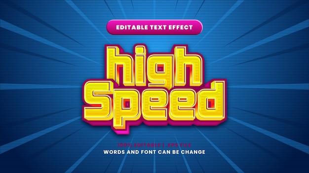 Efeito de texto editável de alta velocidade em estilo 3d moderno
