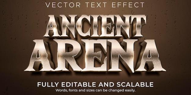 Efeito de texto editável de arena, estilo de texto de batalha e guerreiro
