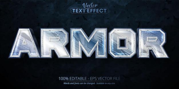 Efeito de texto editável de armadura, cor prata brilhante e estilo de fonte metálico