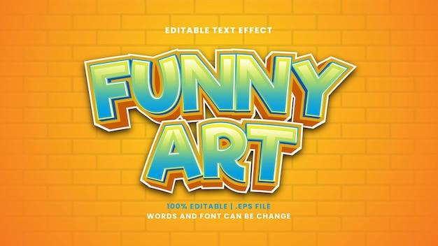 Efeito de texto editável de arte engraçada em estilo 3d moderno