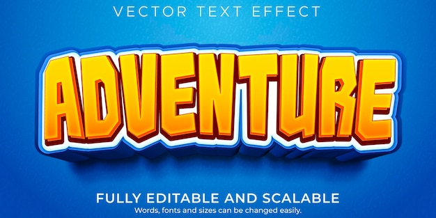 Efeito de texto editável de aventura, crianças e estilo de texto de desenho animado