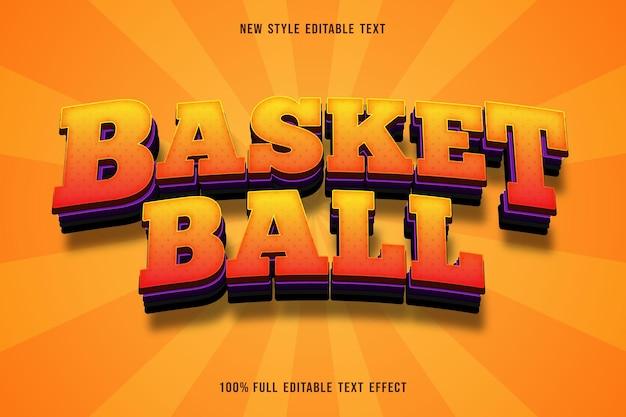 Efeito de texto editável de basquete cor laranja roxo e preto