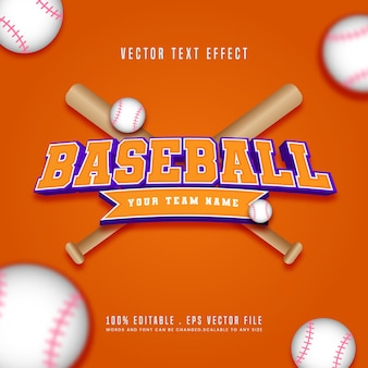 Efeito de texto editável de beisebol