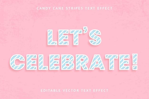 Efeito de texto editável de bengala de doce de aniversário festivo