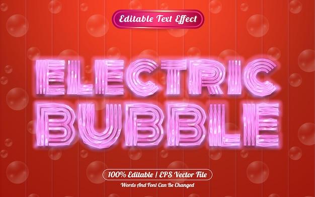 Efeito de texto editável de bolha elétrica com tema de luz