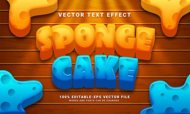 Efeito de texto editável de bolo de esponja adequado para menu de bolo doce