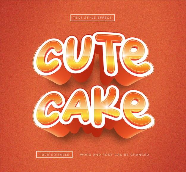 Efeito de texto editável de bolo fofo laranja