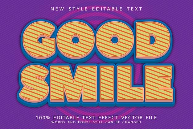 Efeito de texto editável de bom sorriso em relevo estilo cômico