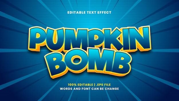 Efeito de texto editável de bomba de abóbora em estilo 3d moderno