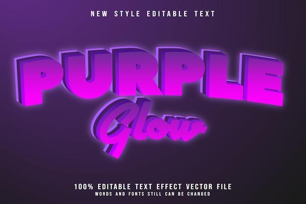 Efeito de texto editável de brilho roxo com relevo em estilo cômico
