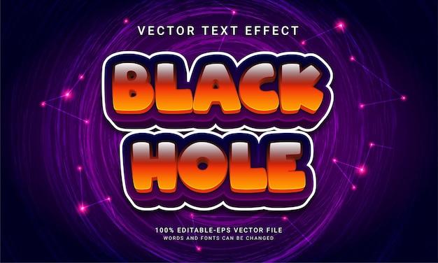 Efeito de texto editável de buraco negro com tema de vida espacial