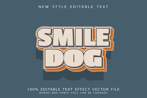 Efeito de texto editável de cachorro smile em relevo estilo desenho animado