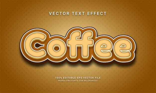 Efeito de texto editável de café com cor marrom