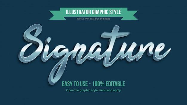 Efeito de texto editável de caligrafia 3d prata brilhante