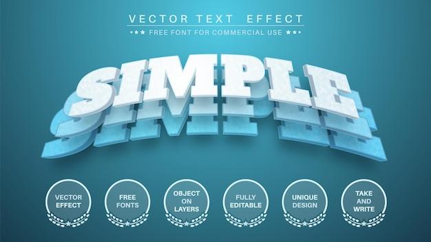 Efeito de texto editável de camada azul 3d, estilo de fonte