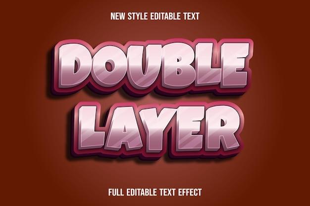 Efeito de texto editável de camada dupla cor rosa e branco