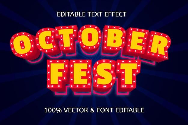 Efeito de texto editável de carnaval no estilo festival de outubro