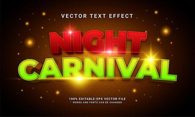 Efeito de texto editável de carnaval noturno