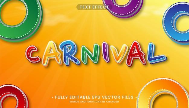 Efeito de texto editável de carnaval