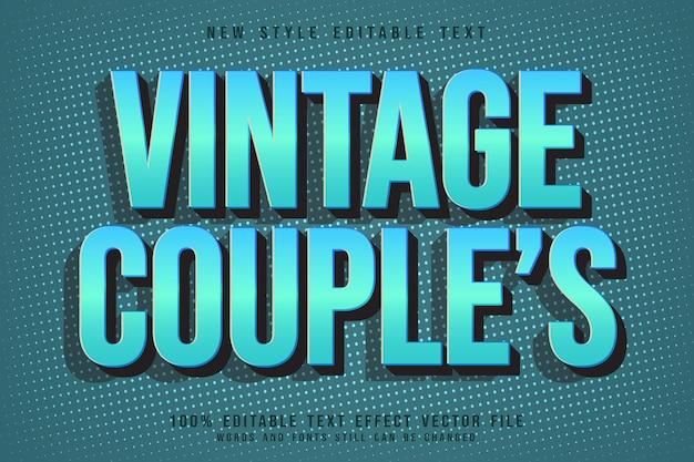 Efeito de texto editável de casais vintage em relevo estilo vintage