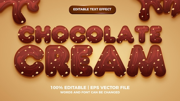 Efeito de texto editável de chocolate creme estilo modelo 3d