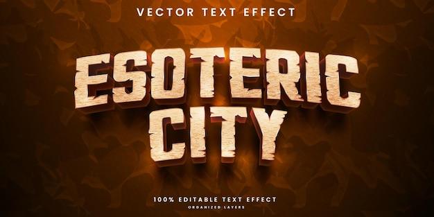 Efeito de texto editável de cidade esotérica