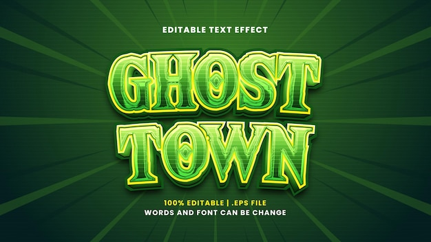 Efeito de texto editável de cidade fantasma em estilo 3d moderno