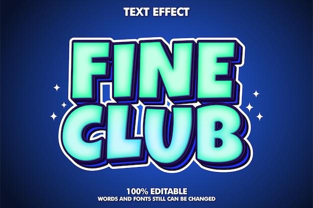 Efeito de texto editável de clube fino efeito de texto de desenho animado em negrito