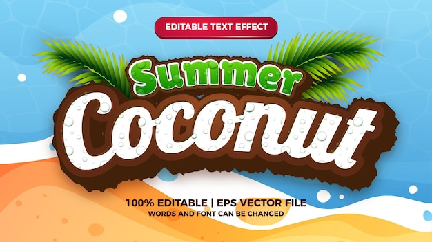 Efeito de texto editável de coco de verão modelo de estilo de título de desenhos animados modernos em quadrinhos
