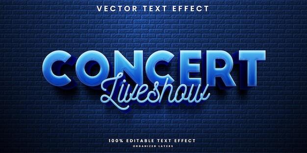 Efeito de texto editável de concerto de música