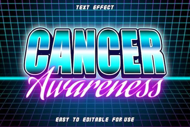 Efeito de texto editável de conscientização sobre o câncer em relevo estilo retro