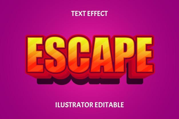 Efeito de texto editável de cor de escape laranja roxo