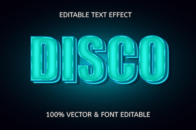 Efeito de texto editável de cor discoteca azul claro