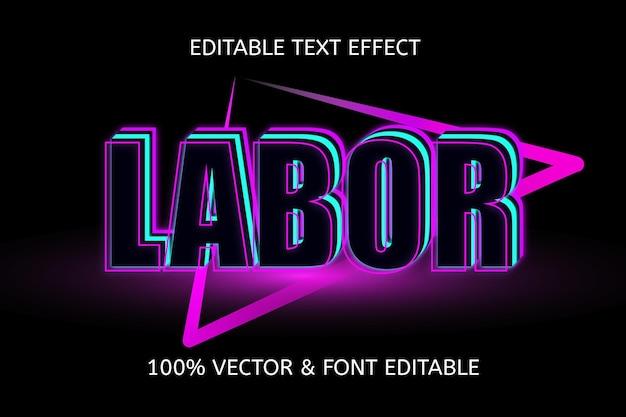 Efeito de texto editável de cor do dia do trabalho azul claro roxo