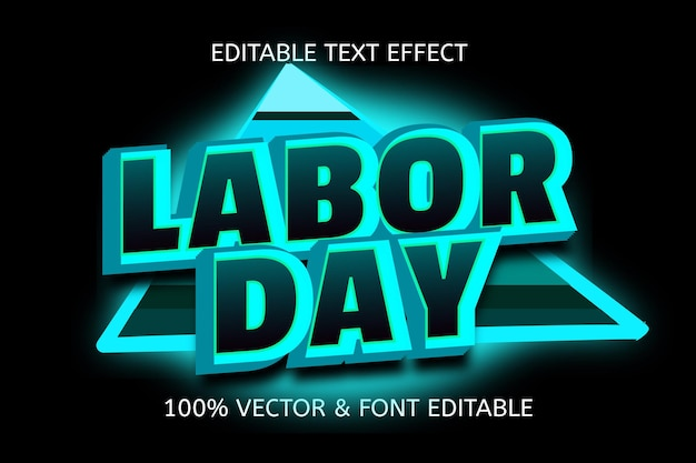Efeito de texto editável de cor do dia do trabalho em azul claro