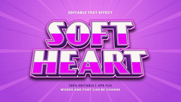 Efeito de texto editável de coração macio em estilo 3d moderno