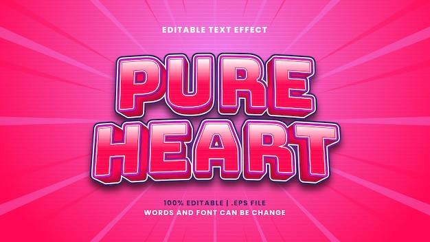 Efeito de texto editável de coração puro em estilo 3d moderno