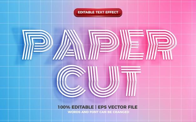 Efeito de texto editável de corte de papel realista