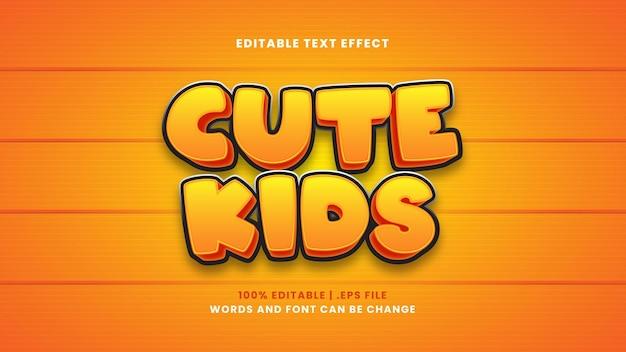 Efeito de texto editável de crianças fofas em estilo 3d moderno
