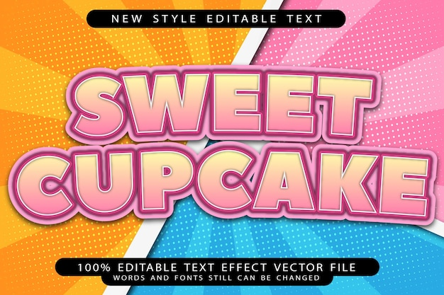Efeito de texto editável de cupcake doce em relevo estilo moderno