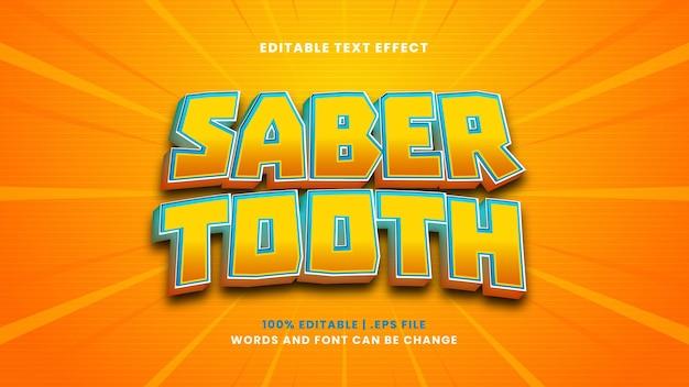 Efeito de texto editável de dente sabre em estilo 3d moderno