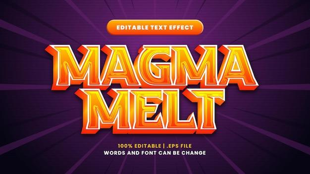 Efeito de texto editável de derretimento de magma em estilo 3d moderno