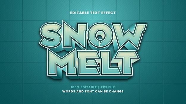 Efeito de texto editável de derretimento de neve em estilo 3d moderno
