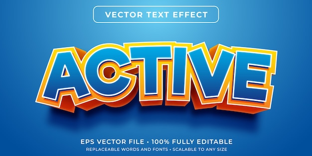 Efeito de texto editável de desenho animado ativo