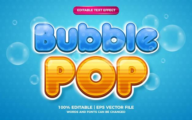 Efeito de texto editável de desenho animado em 3d bubble pop
