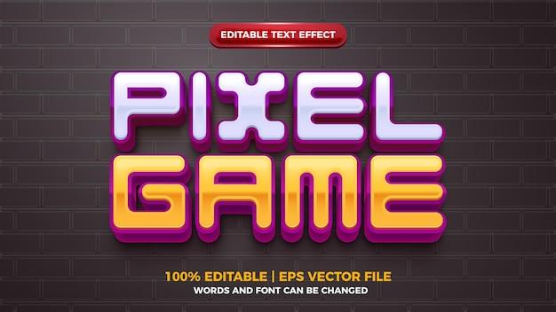 Efeito de texto editável de desenho animado em 3d do jogo pixel