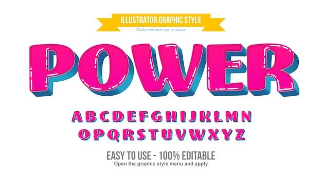 Efeito de texto editável de desenho animado em 3d rosa e azul em maiúsculas