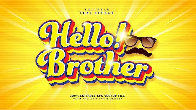 Efeito de texto editável de desenho animado hello brother