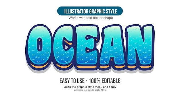 Efeito de texto editável de desenho de ondas 3d azuis
